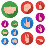 Hand gesture flat icons in set collection for design. Palm and finger vector symbol stock web illustration. Hand gesture flat icons in set collection for design Royalty Free Stock Images