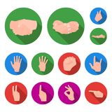 Hand gesture flat icons in set collection for design. Palm and finger vector symbol stock web illustration. Hand gesture flat icons in set collection for design Royalty Free Stock Image