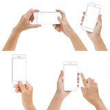 Hand gesture hold and using phone set isolated white backgrou Stock Photography