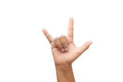 Hand Gesture for I love you Stock Image