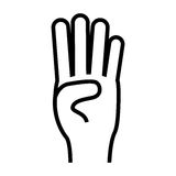 Hand gesture icon image. Counting four fingers up hand gesture icon image vector illustration design Stock Photo