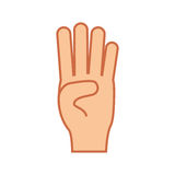 Hand gesture icon image. Counting four hand gesture icon image vector illustration design Stock Image