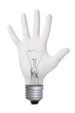 Hand gesture lamp bulb Royalty Free Stock Images