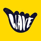 Hand gesture with lettering text Wave on yellow background. Vector color sticker.  Royalty Free Stock Image
