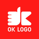 Hand gesture. Logo OK. Vector illustration Royalty Free Stock Images
