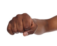 Hand gesture, man clenched fist, ready to punch Stock Image