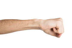 Hand gesture, man clenched fist, ready to punch. Hand gesture, fight or punch. Man clenched fist, isolated on white, close-up, cutout Stock Images