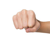 Hand gesture, man clenched fist, ready to punch. Hand gesture. Man clenched fist, ready to punch, isolated on white, close-up, copy space Royalty Free Stock Photo