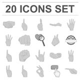 Hand gesture monochrome icons in set collection for design. Palm and finger vector symbol stock web illustration. Hand gesture monochrome icons in set Royalty Free Stock Image