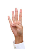 Hand gesture number four Stock Photos