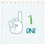 Hand gesture number notebook background stock illustration