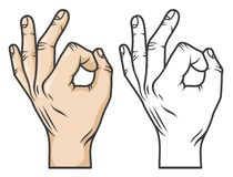 Hand gesture OK. Or zero. Comics cartoon style. Black-and-white and color versions stock illustration