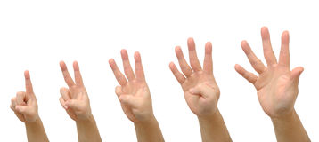 Hand gesture one to five Royalty Free Stock Photos