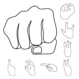 Hand gesture outline icons in set collection for design. Palm and finger vector symbol stock web illustration. Hand gesture outline icons in set collection for Royalty Free Stock Image