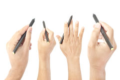 Hand gesture with pen Stock Photography