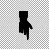 Black hand with index finger pointing down on transparent background. Hand gesture of pointing finger icon illustration of businessman black hand with index Stock Image