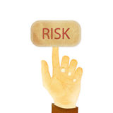 Hand gesture pointing at Risk button Royalty Free Stock Photos