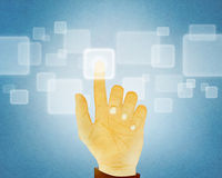 Hand gesture pushing button on touch screen. Paper texture ,Hand gesture pushing button on touch screen Royalty Free Stock Image