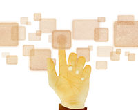 Hand gesture pushing button on touch screen on wh Royalty Free Stock Photography