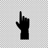 Hand gesture with a raised index finger. Pointing finger icon illustration of businessman black hand with index finger pointing isolated on transparent Royalty Free Stock Photos