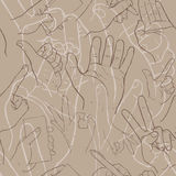 Hand gesture seamless texture. Seamless many hand texture Royalty Free Stock Photos