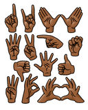 Hand Gesture Set. A set of 15 different cartoon hands in various poses vector illustration