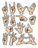 Hand Gesture Set. A set of 15 different cartoon hands in various poses royalty free illustration