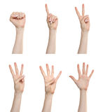 Hand gesture set counting numbers Stock Photography