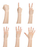 Hand gesture set counting numbers Stock Image