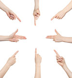 Hand Gesture Set Directions Royalty Free Stock Photos