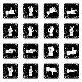Hand gesture set icons, grunge style. Hand gesture set icons in grunge style isolated on white background. Vector illustration Royalty Free Stock Photos