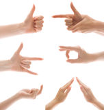 Hand gesture set, isolated Royalty Free Stock Photography