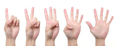 1 2 3 4 5 hand. Gesture of hand showing number with finger from one to five Royalty Free Stock Image