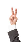 Hand gesture symbolizing victory isolated on white. Background Stock Photography