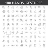 Hand gesture, touch, finger, palm, handshaking, forefinger, okey, body language, take money, pay by card line icons. Signs Illustration vector concept Editable Stock Image