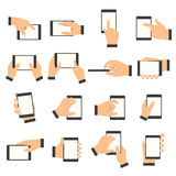Hand gesture on the touch screen. Hands holding smartphone or other digital devices Royalty Free Stock Photos