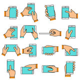 Hand gesture on the touch screen. Hands holding smartphone or other digital devices. Line icons set with flat design elements Stock Photography