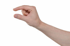 Hand gesture - two fingers holding something. Man hand isolated on white background. Hand gesture - two fingers holding something Royalty Free Stock Image