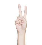 Hand gesture victory isolated white clipping path inside Stock Images