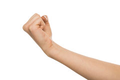 Hand gesture, woman clenched fist, ready to punch. Hand gesture. Woman clenched fist, ready to punch, isolated on white, close-up, copy space Stock Image