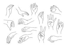 Hand gestures. Set of 14 different hand gestures (*.EPS included Stock Photos