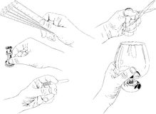 Hand gestures 2. We present five different gestures with his hands which illustrate various actions such as cutting, measuring, drinking and smoking Stock Illustration