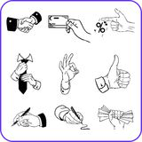 Hand gestures - business set. Vector illustration. Stock Photography