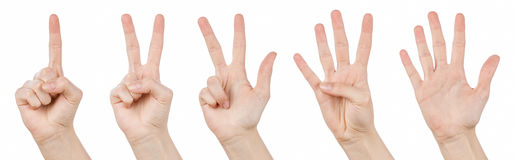 Hand gestures counting from 1 to 5. Counting hands on the finger of one to five isolated on white background Stock Photos