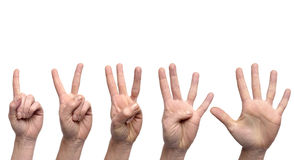 Hand gestures counting from 1 to 5 on white background. Hand gestures counting from 1 to 5 isolated on a white background royalty free stock images