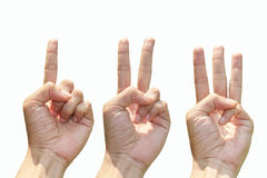 Hand gestures counting from 1 to 3 royalty free stock photography