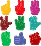 Hand gestures flat. Design long shadow. Foam fingers colorful icon set. Fan sports paraphernalia item- vector Royalty Free Stock Images