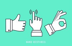 Hand Gestures Flat Line Icon. Hand gestures icon with dark grey outline and offset flat colors Royalty Free Illustration
