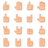 Hand gestures flat signs Royalty Free Stock Images