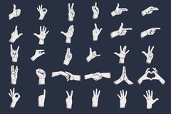 Hand gestures with grunge dots shadow texture. Digits hand gestures. Eps 10 royalty free illustration
